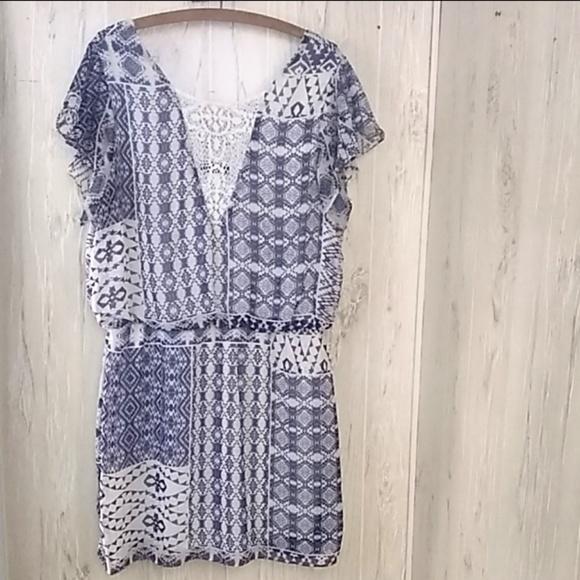 B. Smart Dresses & Skirts - B. Smart blue white dress with lace detail